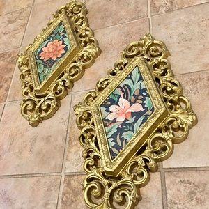 Vintage Burwood Floral Wall Hanging Plaques Pair